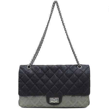 Chanel(샤넬) 2.55 캐비어 램스킨 더블컬러 L 사이즈 빈티지 은장 체인 숄더백 [강남본점]