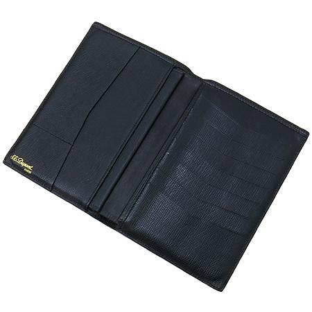 Dupont(듀퐁) 금장 로고 블랙 레더 중지갑 [강남본점]