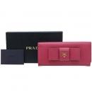 Prada(프라다) 1M1132 금장로고 핑크 SAFFIANO(사피아노) FIOCCO 리본 장식 장지갑 [강남본점]