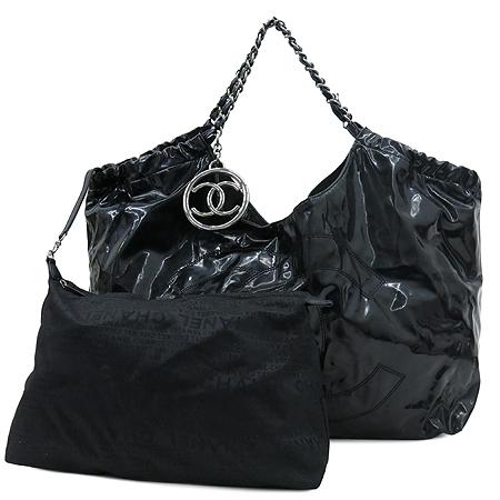 Chanel(샤넬) 페이던트 블랙 로고 스티치 카바스 은장로고 체인 숄더백 + 보조 파우치 [강남본점]