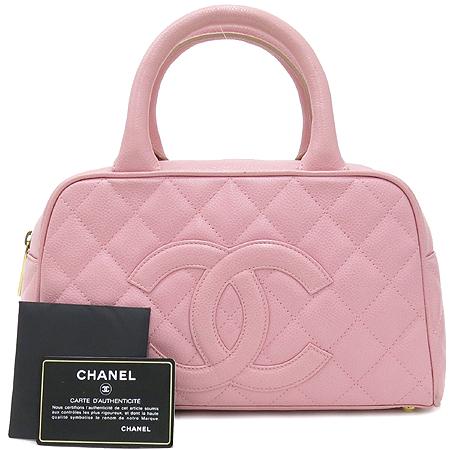 Chanel(샤넬) 캐비어 스킨 핑크 로고 스티치 미니 토트백  [대구동성로점]