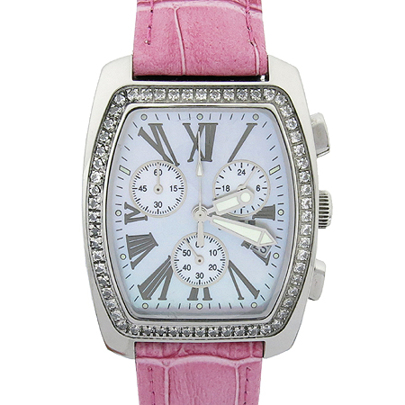 FOCE(포체) 스틸 핑크 가죽 밴드 여성용 시계