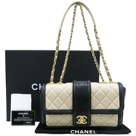 Chanel(샤넬) A90670Y10509 C6965 엘레강스 CC 베이지레더 블랙 혼방 금장로고 체인 플랩 숄더백 [강남본점]