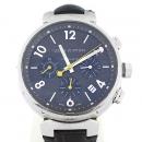 Louis Vuitton(루이비통) 한정판 Q1121 땅부르 오토매틱 크로노 그래프 엘리게이터 가죽 밴드 남성용 시계 (W)