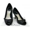 Dior(크리스챤디올) 블랙 레더 퀼팅 오픈토 여성용 구두 [대구반월당본점]