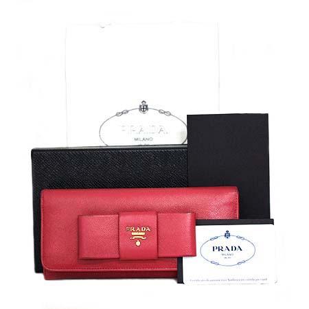 Prada(프라다) 1M1132 핑크 사피아노 리본 장식 장지갑 [동대문점]