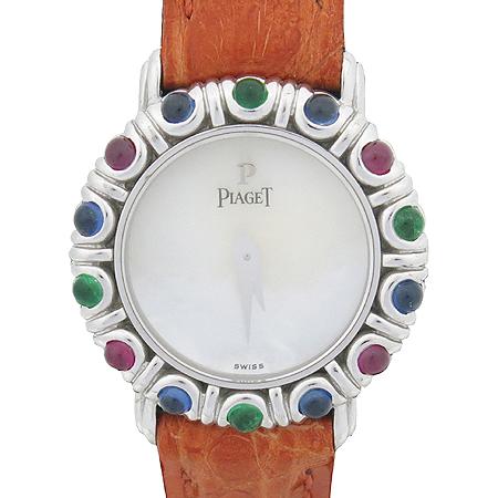 PIAGET(피아제) GOA19147 18K 화이트 골드 유색석 베젤 자개판 가죽밴드 쿼츠 여성용 시계