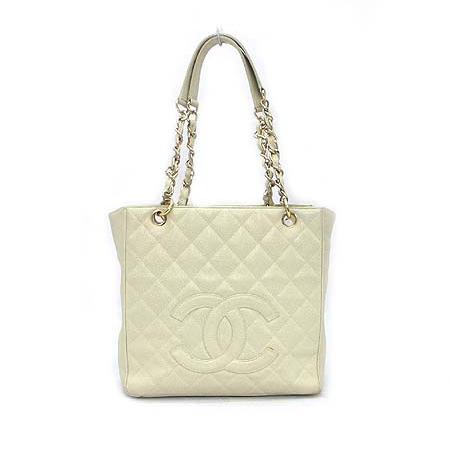 Chanel(샤넬) 캐비어스킨 COCO 로고 정방 금장 체인 숄더백