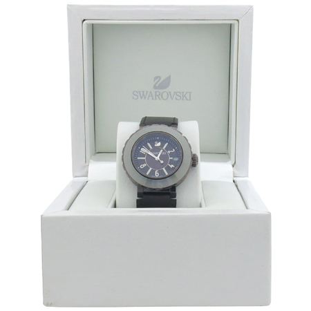 Swarovski(스와로브스키) 1032376 OCTEA SPORT(옥테아 스포트) 크리스탈 로즈골드 블랙 가죽밴드 남여공용 시계