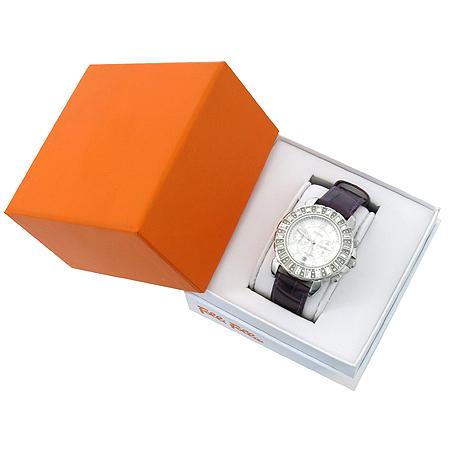 FOLLI FOLLI(폴리폴리) WF7A004SE 라운드 베젤장식 크로노 가죽밴드 여성용 시계 [강남본점]