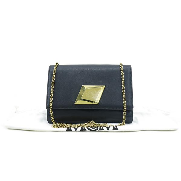 MCM(엠씨엠) MYL5SCU01BK001 금장 로고 장식 블랙 레더 체인 크로스백 [강남본점]