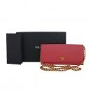 Prada(프라다) 1M1290 골드 메탈 로고 핑크 SAFFIANO(사피아노) 장지갑 + 체인 스트랩  [대구반월당본점]