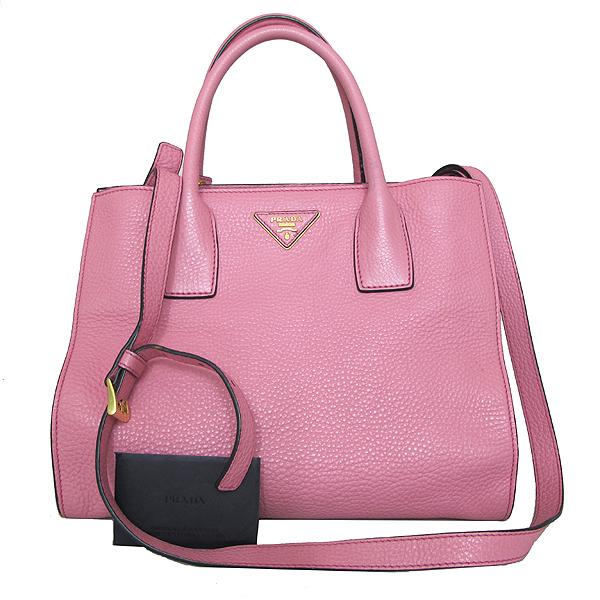 Prada(프라다) BN2693 금장 삼각 로고 VIT.DAINO 핑크 레더 토트백 + 숄더스트랩 [인천점]