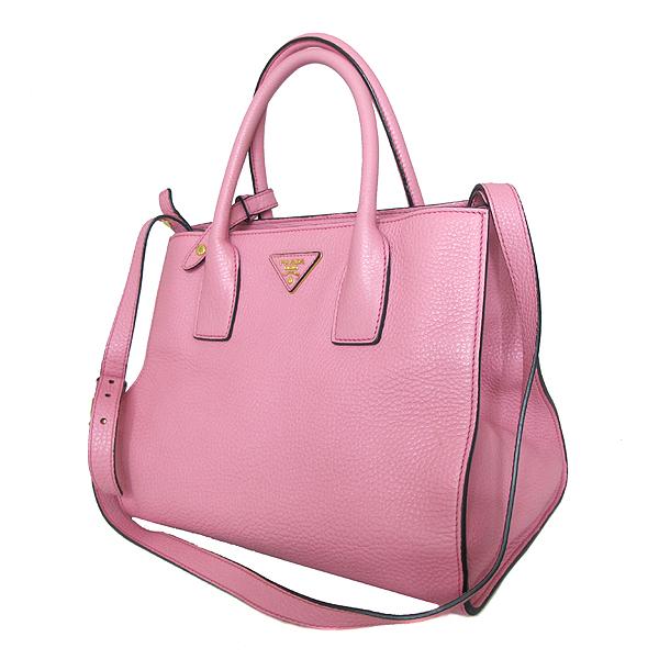 Prada(프라다) BN2693 금장 삼각 로고 VIT.DAINO 핑크 레더 토트백 + 숄더스트랩 [인천점] 이미지2 - 고이비토 중고명품