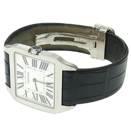 Cartier(까르띠에) W2007051 산토스 DUMONT (뒤몽) 18K 화이트 골드 금통 가죽밴드 시계