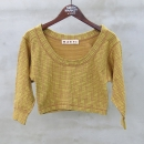 MARNI(마르니) 100% 코튼 옐로우 컬러 체크 크롭 티셔츠 [동대문점]