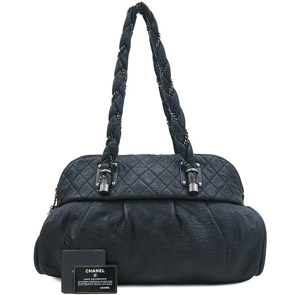 Chanel(샤넬) 블랙 퀼팅 스티치 레더 볼링 체인 숄더백 [부산센텀본점]