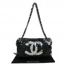 Chanel(샤넬) 블랙 램스킨 스팽글 장식 은장 체인 숄더백 [동대문점]