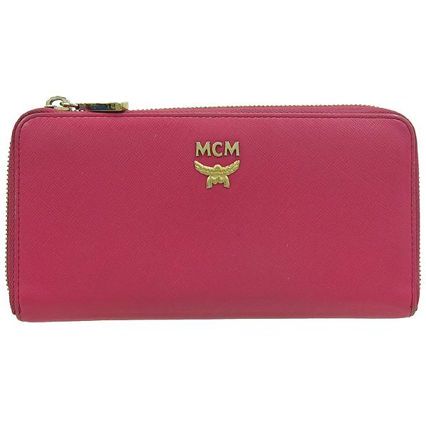 MCM(엠씨엠) 핑크 컬러 사피아노 짚업 장지갑 [강남본점]