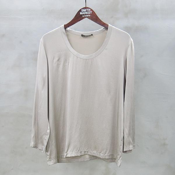 VERA WANG(베라왕) 그레이 실크 혼방 U넥 여성용 티셔츠 [동대문점]
