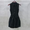 THEORY(띠어리) 블랙 컬러 셔츠 벨트 디테일 슬리브리스 원피스 [동대문점]