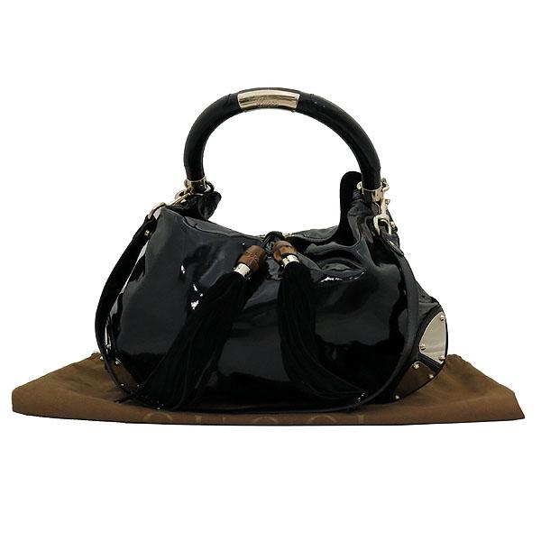 Gucci(구찌) 177088 블랙 페이던트 인디 뱀부핸들 토트백 + 숄더 스트랩 2WAY [대전갤러리아점]