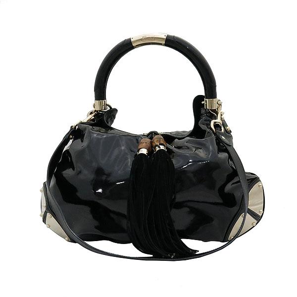 Gucci(구찌) 177088 블랙 페이던트 인디 뱀부핸들 토트백 + 숄더 스트랩 2WAY [대전갤러리아점] 이미지2 - 고이비토 중고명품