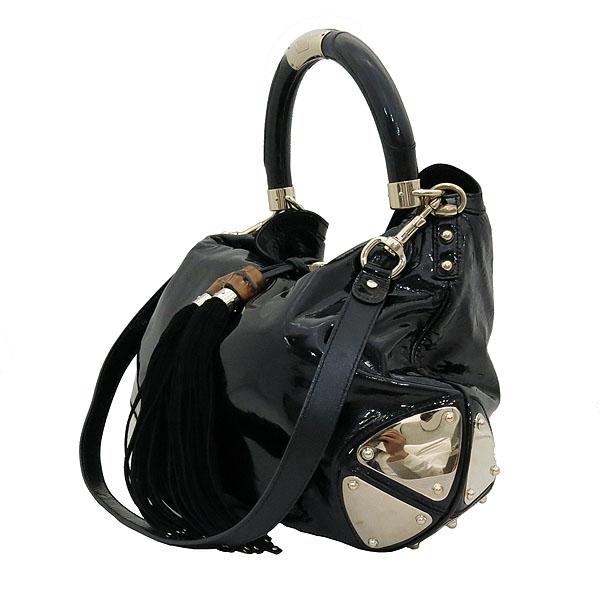 Gucci(구찌) 177088 블랙 페이던트 인디 뱀부핸들 토트백 + 숄더 스트랩 2WAY [대전갤러리아점] 이미지3 - 고이비토 중고명품