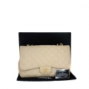 Chanel(샤넬) A28600 캐비어스킨 베이지 클래식 점보 L사이즈 금장로고 체인 숄더백 [동대문점]