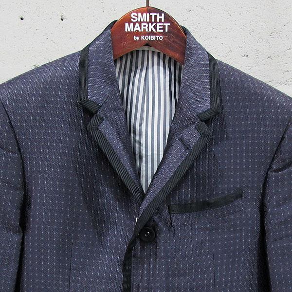 THOM BROWNE(톰브라운) 네이비 실크 혼방 파이핑 디테일 남성용 블레이저 자켓 [동대문점] 이미지2 - 고이비토 중고명품