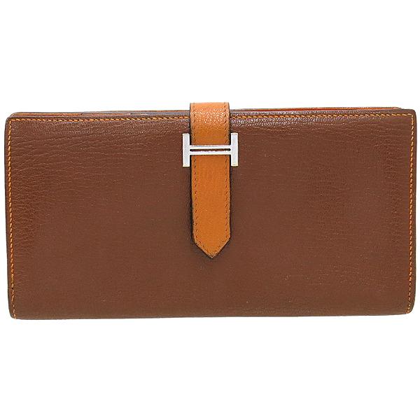 Hermes(에르메스) 브라운 + 오렌지 컬러 투톤 베안 장지갑  [대구동성로점]