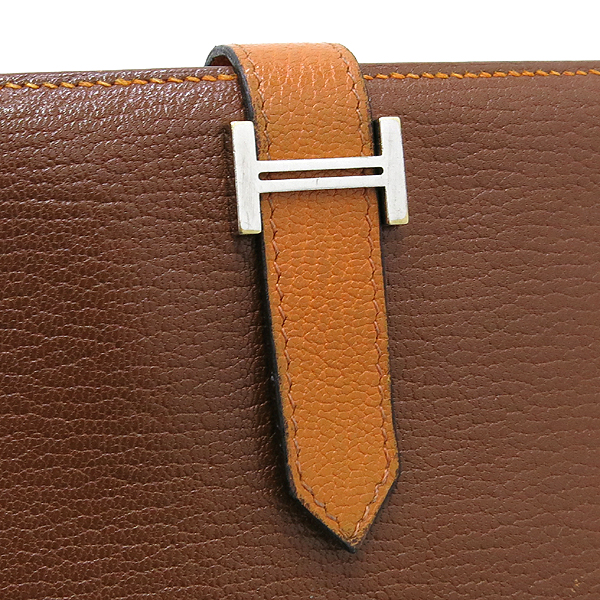 Hermes(에르메스) 브라운 + 오렌지 컬러 투톤 베안 장지갑  [대구동성로점] 이미지2 - 고이비토 중고명품