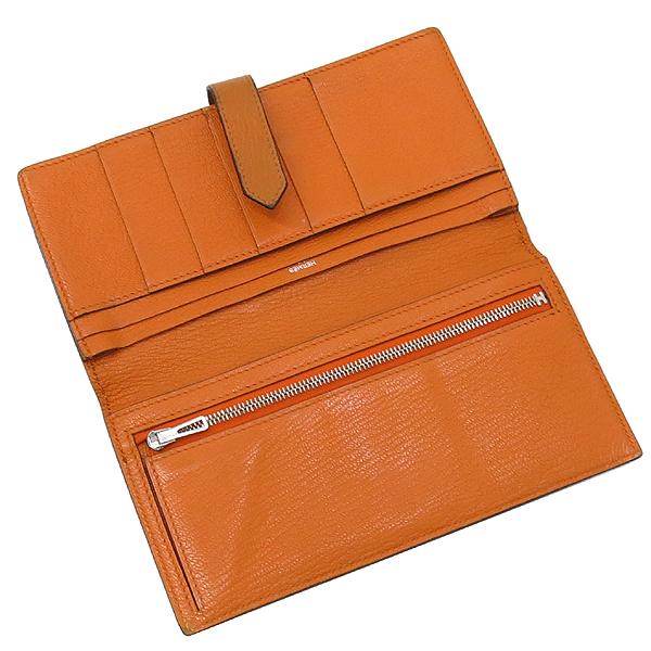 Hermes(에르메스) 브라운 + 오렌지 컬러 투톤 베안 장지갑  [대구동성로점] 이미지3 - 고이비토 중고명품