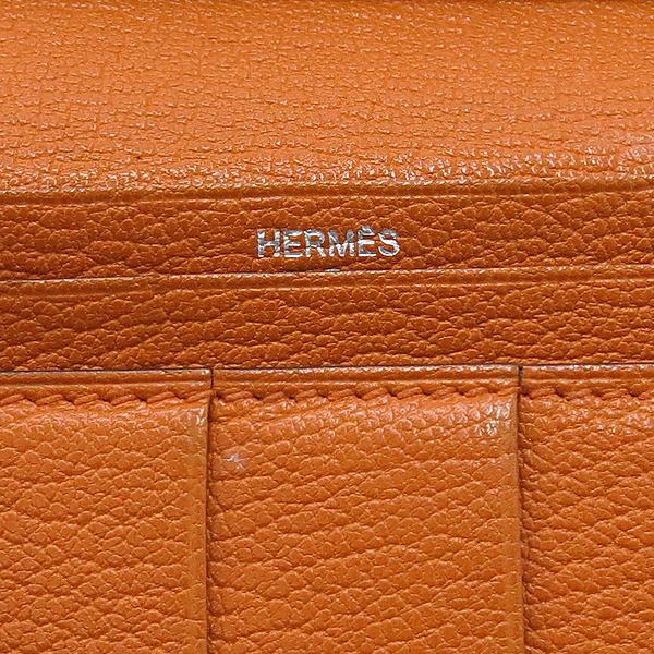 Hermes(에르메스) 브라운 + 오렌지 컬러 투톤 베안 장지갑  [대구동성로점] 이미지4 - 고이비토 중고명품