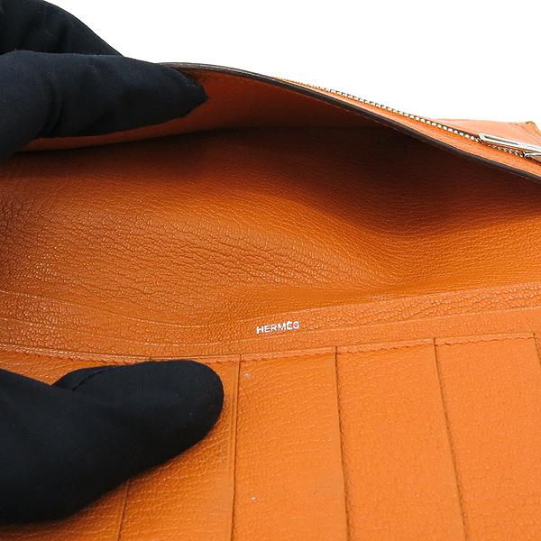 Hermes(에르메스) 브라운 + 오렌지 컬러 투톤 베안 장지갑  [대구동성로점] 이미지5 - 고이비토 중고명품