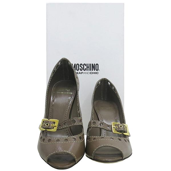 Moschino(모스키노) CA16058C1VCB0214 코코아레더 퍼포 금장 벨트장식 여성용구두 [대구반월당본점]