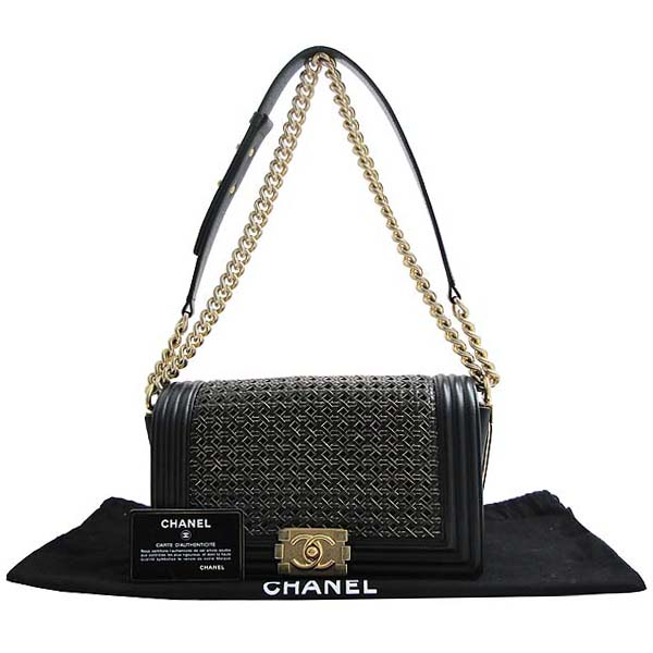 Chanel(샤넬) 블랙 위빙 레더 보이샤넬 S사이즈 금장로고 체인 숄더백 [인천점]