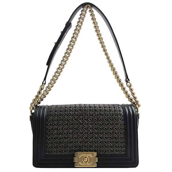 Chanel(샤넬) 블랙 위빙 레더 보이샤넬 S사이즈 금장로고 체인 숄더백 [인천점] 이미지2 - 고이비토 중고명품