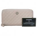 Chanel(샤넬) 까멜리아 로고 장식 핑크 레더 여성용 장지갑 [부산센텀본점]