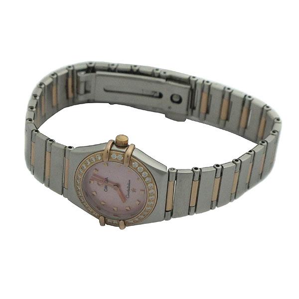 Omega(오메가) 1368 73 컨스트레이션 MYCHOICE (마이초이스) 핑크 자개판 베젤 다이아 18K 콤비 여성용 시계 [인천점]