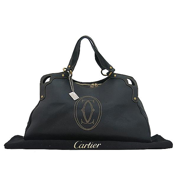 Cartier(까르띠에) 블랙레더 마르첼로 L사이즈 로고 스탬핑 스티치 토트백 [부산센텀본점]