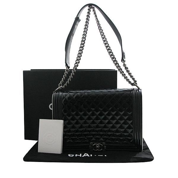 Chanel(샤넬) A67087 보이 샤넬 블랙 페이던트 L사이즈 메탈 체인 숄더백 [인천점]
