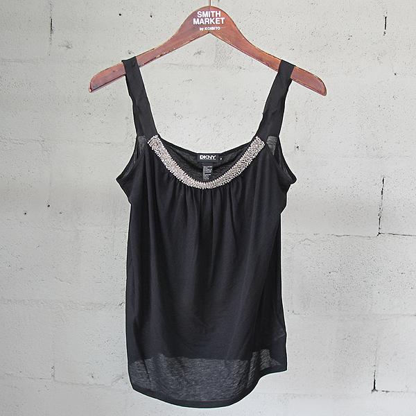 DKNY(도나카란)면 100% 블랙 컬러 비쥬 장식 여성용 슬리브리스 티 [동대문점]