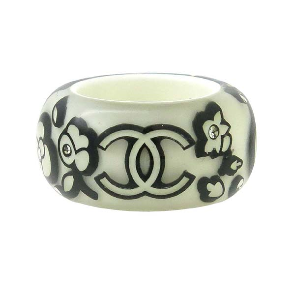 Chanel(샤넬) 로고 장식 화이트&블랙 컬러 반지 -12호 [강남본점] 이미지3 - 고이비토 중고명품