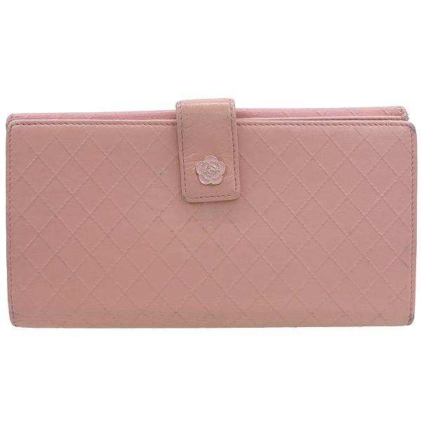 Chanel(샤넬) 핑크레더 퀼팅 까멜리아 장지갑 [강남본점]