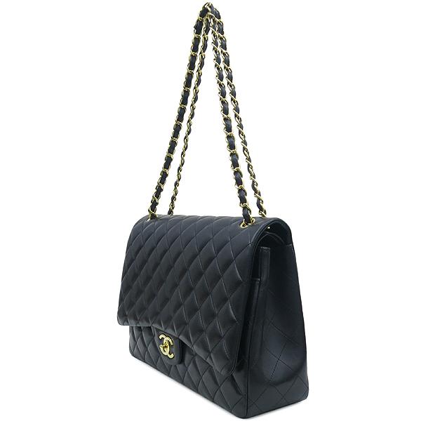 Chanel(샤넬) A58601 램스킨 블랙 클래식 맥시 사이즈 금장로고 체인 플랩 숄더백 [강남본점] 이미지3 - 고이비토 중고명품