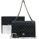 Chanel(샤넬) A58601 램스킨 블랙 클래식 맥시 사이즈 금장로고 체인 플랩 숄더백 [강남본점]