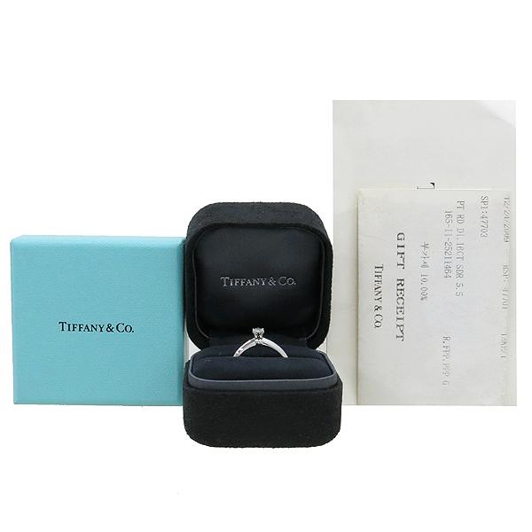 Tiffany(티파니) 25211464 티파니셋팅 PT950 플래티늄골드  0.16 캐럿 1포인트 다이아 웨딩 반지 - 9호 [강남본점]