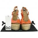 D&G(돌체&가바나) DS4069 라이트 오렌지 페이던트 코르크 우드 웨지 오픈토 여성용샌들 [강남본점]