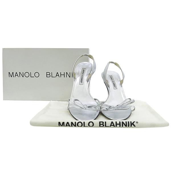 MANOLO BLAHNIK (마놀로 블라닉) 실버 메탈릭 오픈토 여성용샌들 [강남본점]
